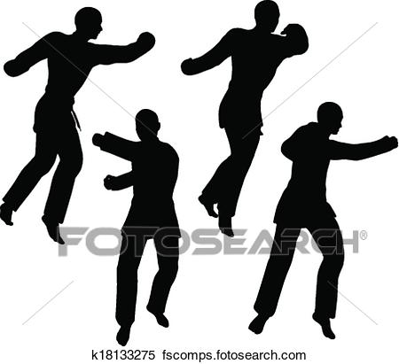 450x411 Clipart Of Karate Martial Art Silhouettes Of Men And Women In Fist