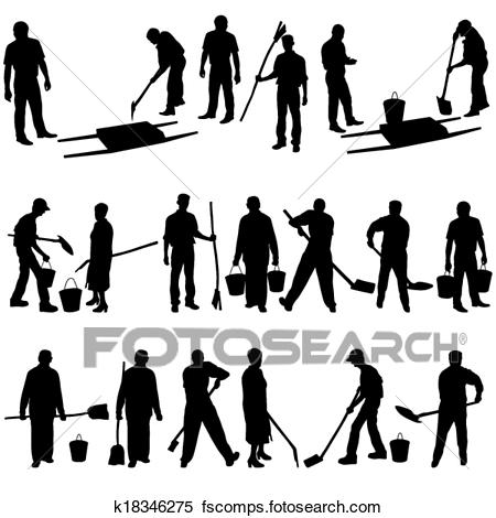 450x470 Clipart Of Set Of Black Silhouettes Of Men And Women With Shovels
