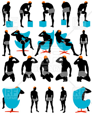 320x400 Set Of Men Silhouettes Royalty Free Vector Clip Art Image