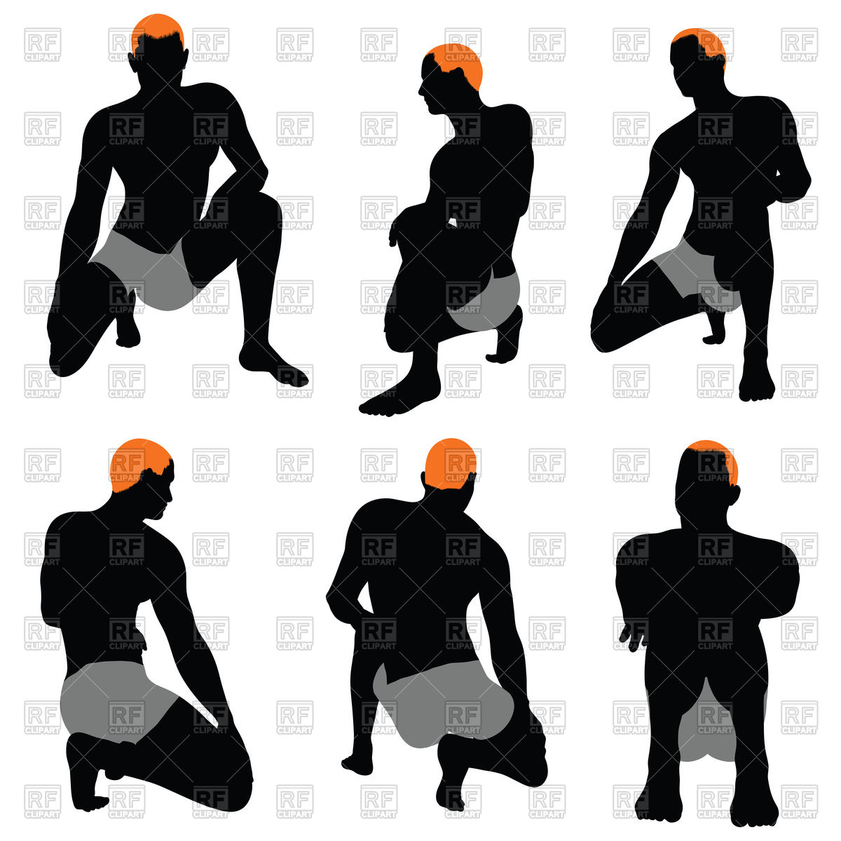 1200x1200 Set Of Sitting Men Silhouettes Royalty Free Vector Clip Art Image