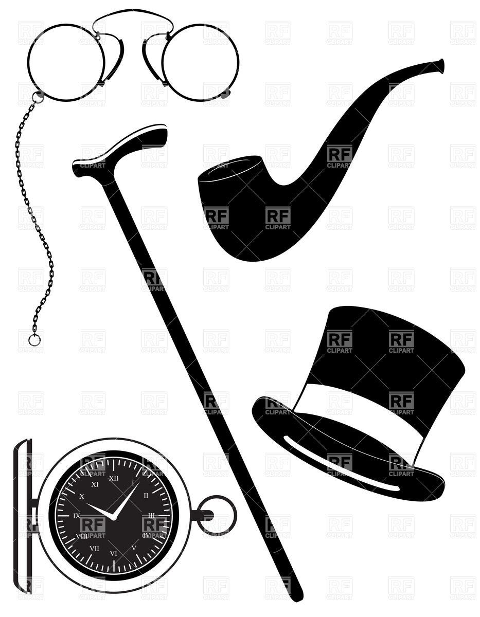 933x1200 Men's Accessories Of 19th Century Royalty Free Vector Clip Art