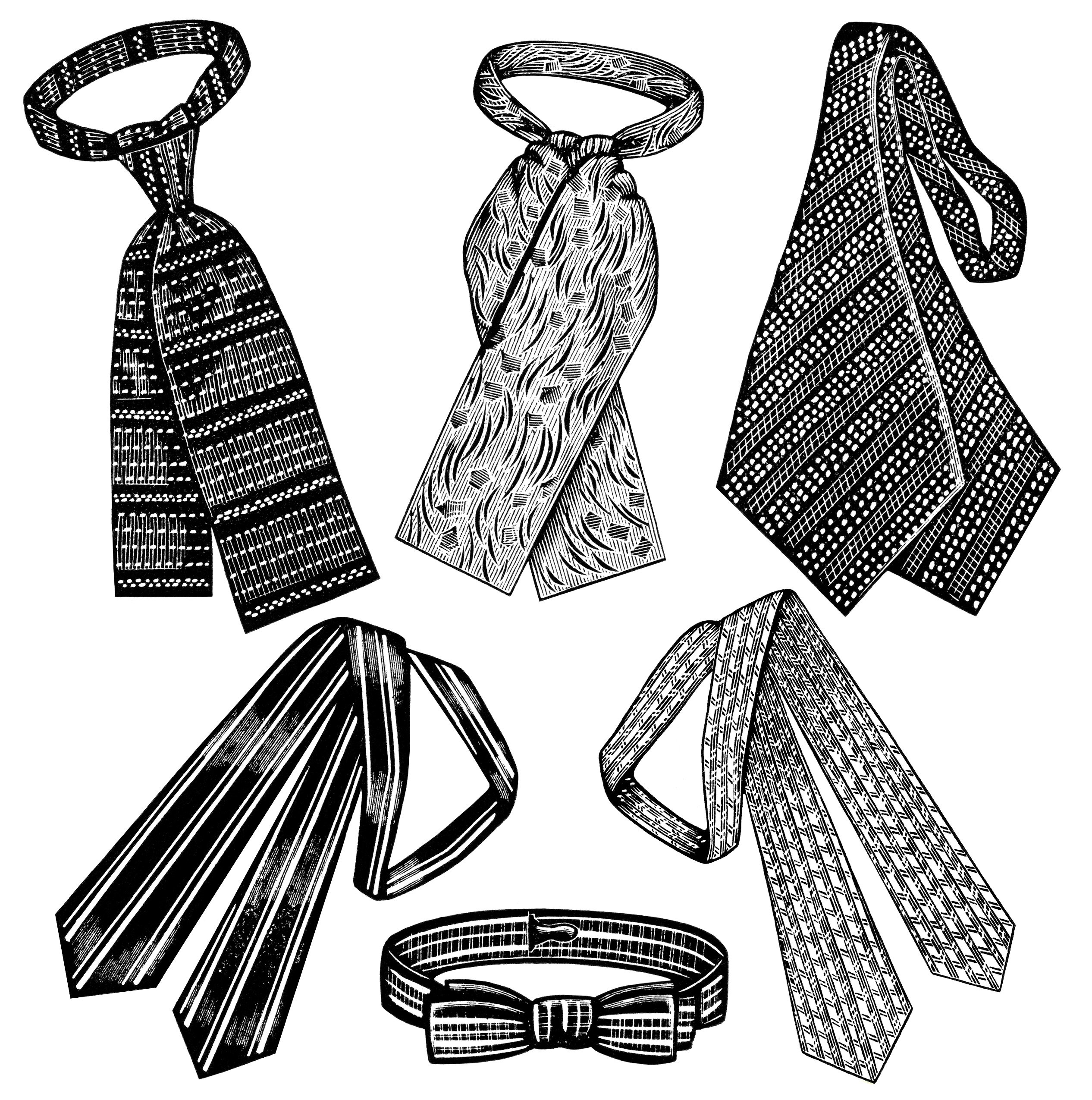 2532x2550 Victorian Men's Neckties ~ Free Clip Art Old Design Shop Blog