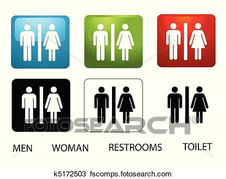 450x357 Clipart Of Women's And Men's Toilets K5172503
