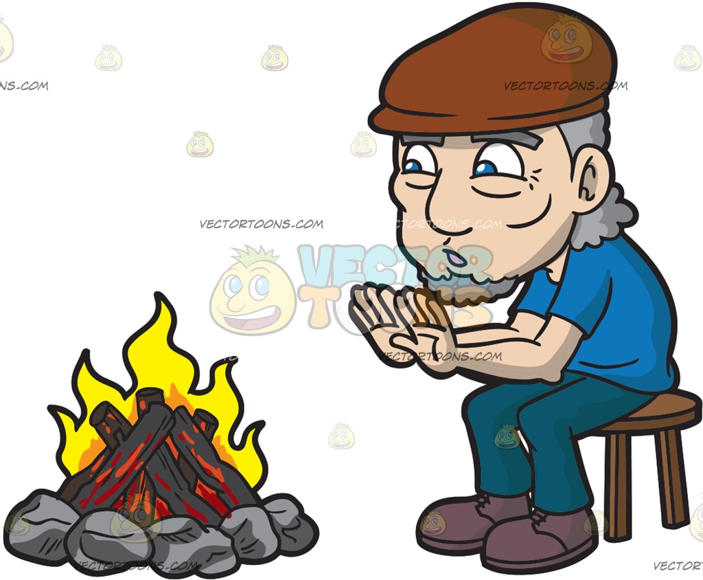 1024x844 An Old Man Warming Himself Around The Camp Fire Cartoon Clipart