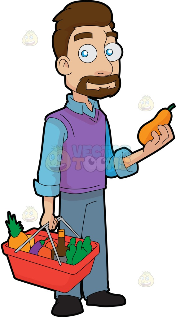 568x1024 A Guy Shopping For Fruits And Vegetables Cartoon Clipart