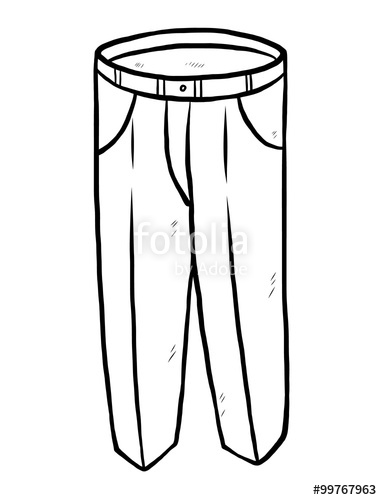382x500 Long Pants Cartoon Vector And Illustration, Grayscale, Hand