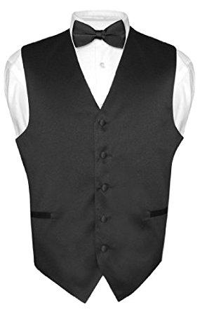 285x445 Men's Dress Vest Amp Bowtie Solid Black Color Bow Tie Set For Suit