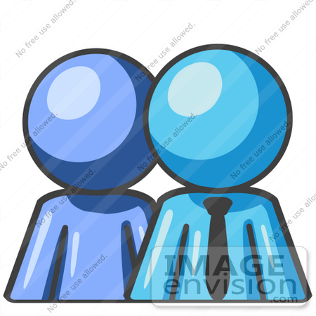 450x450 Clip Art Graphic Of A Sky Blue Guy Character Boss With Employee
