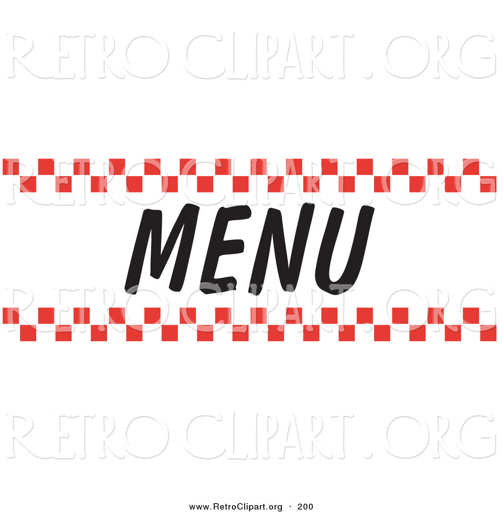 1024x1044 Retro Clipart Of A Menu Sign With Red Checker Borders And Black