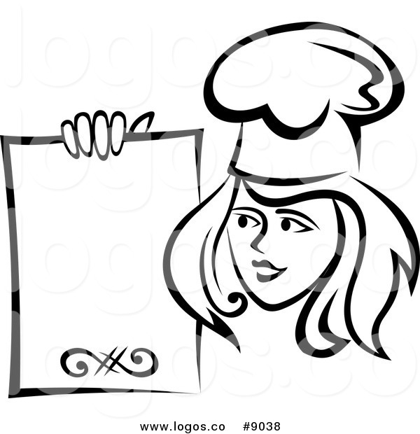 600x620 Royalty Free Clip Art Vector Logo Of A Black And White Female Chef