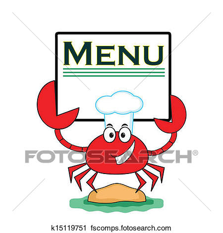 450x470 Clipart Of Crab With Banner Menu K15119751