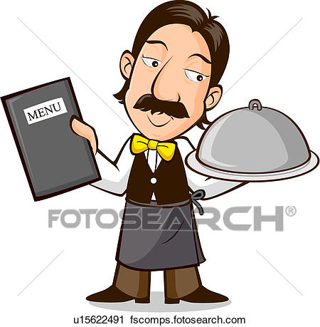 450x459 Clipart Of Waiter With Menu And Food U15622491