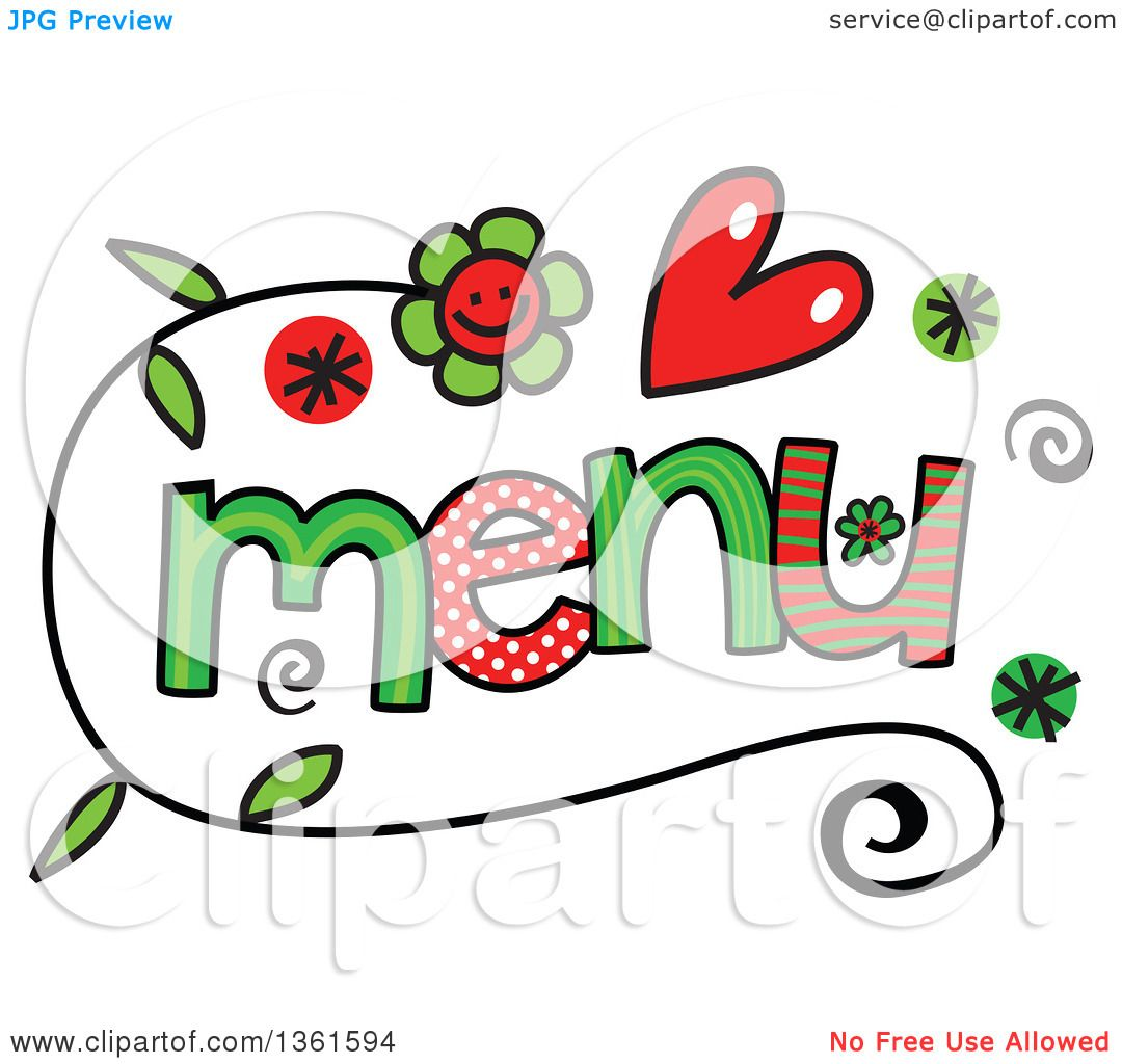 1080x1024 Clipart Of Colorful Sketched Menu Word Art
