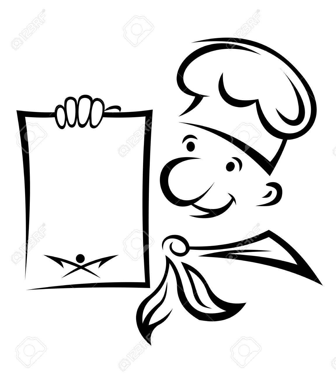 1151x1300 Cheerful Chef With Menu Paper For Food Cooking Design Royalty Free