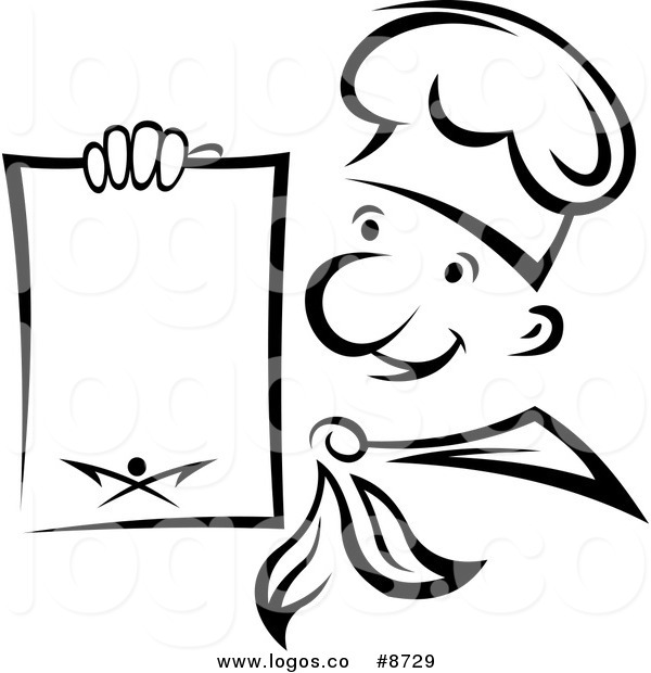 600x620 Royalty Free Vector Of A Black And White Chef Holding A Menu Logo