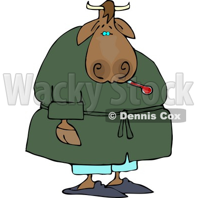 400x400 Male Cow Using A Common Mercury Thermometer Clipart Djart