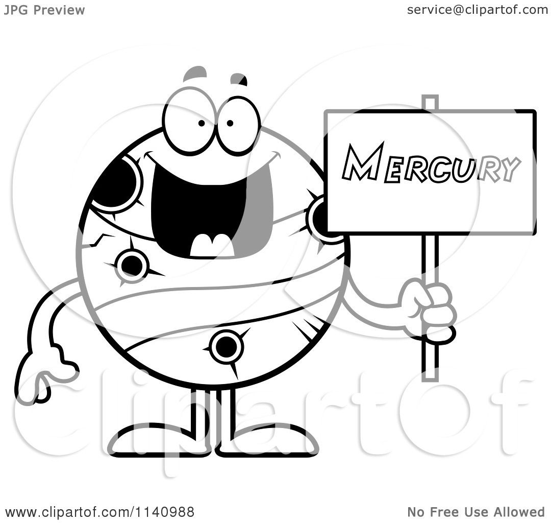 1080x1024 Cartoon Clipart Of A Black And White Planet Mercury Holding A Sign