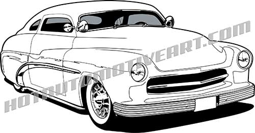 500x261 1950 Mercury Custom Black Line Clipart