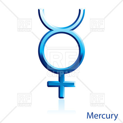 400x400 Shiny Blue Mercury Sign On White Background Royalty Free Vector