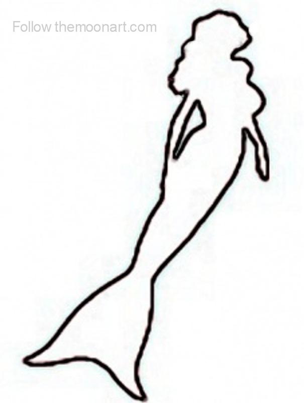 605x800 Mermaid Clipart Mermaid Outline