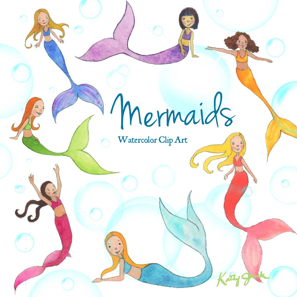 1148x1148 Mermaid Watercolor Clip Art
