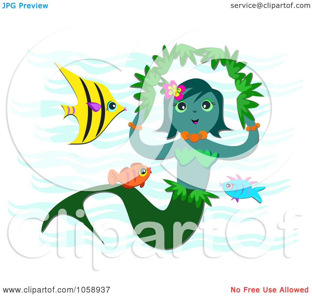 1080x1024 Royalty Free Vector Clip Art Illustration Of A Mermaid With Fish