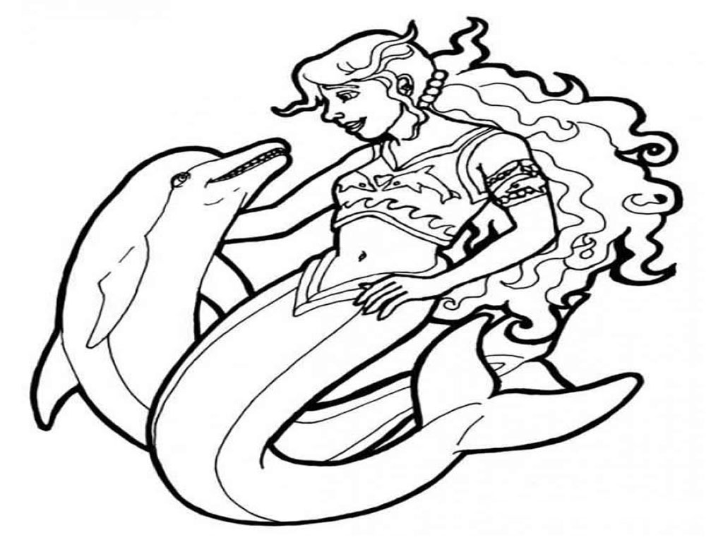 1024x768 Dolphin And Mermaid Coloring Pages Printable Bebo Pandco