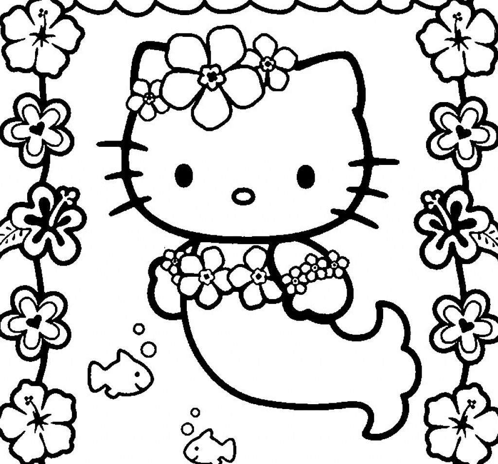 1024x954 Hello Kitty Mermaid Coloring Pages In Glum Pertaining
