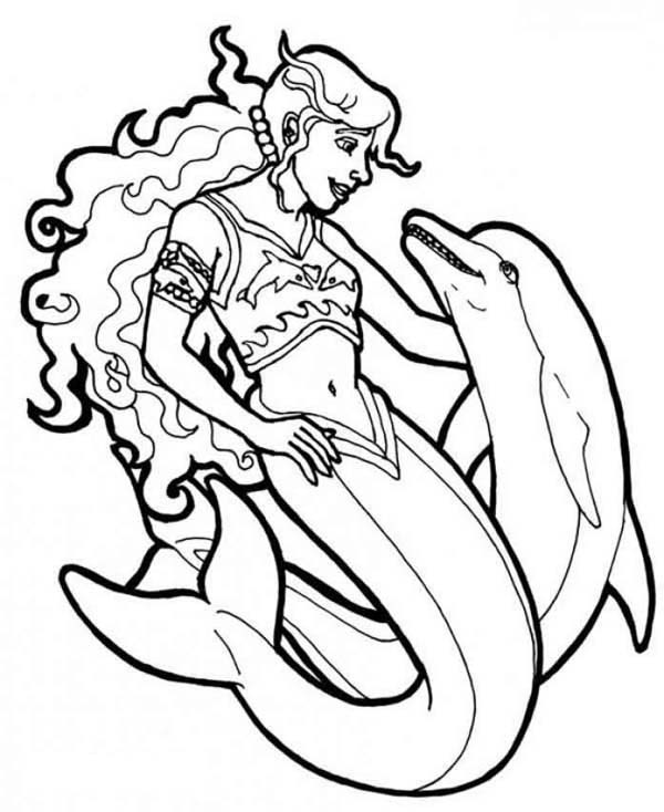 600x734 Mermaid, Warrior Mermaid With Her Dolphin Coloring Page Ripple