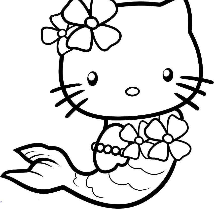862x842 Mesmerizing Hello Kitty Mermaid Coloring Pages 18 For Your Gallery