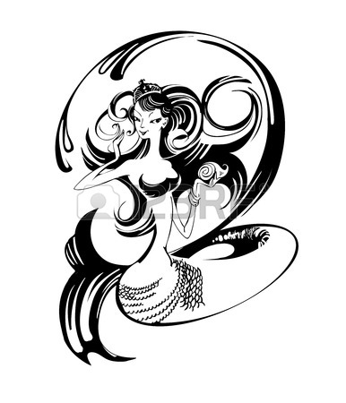 386x450 Mermaid Black And White Drawing 26787999 Black And White Image