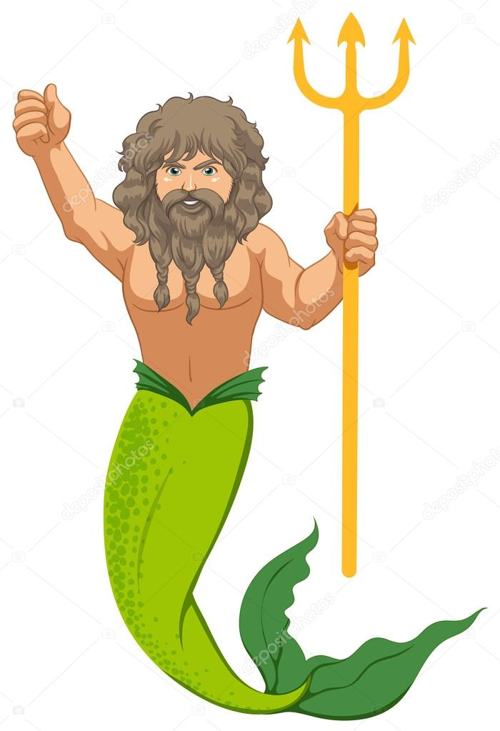 700x1023 Male Mermaid With The Trident Stock Vector Interactimages