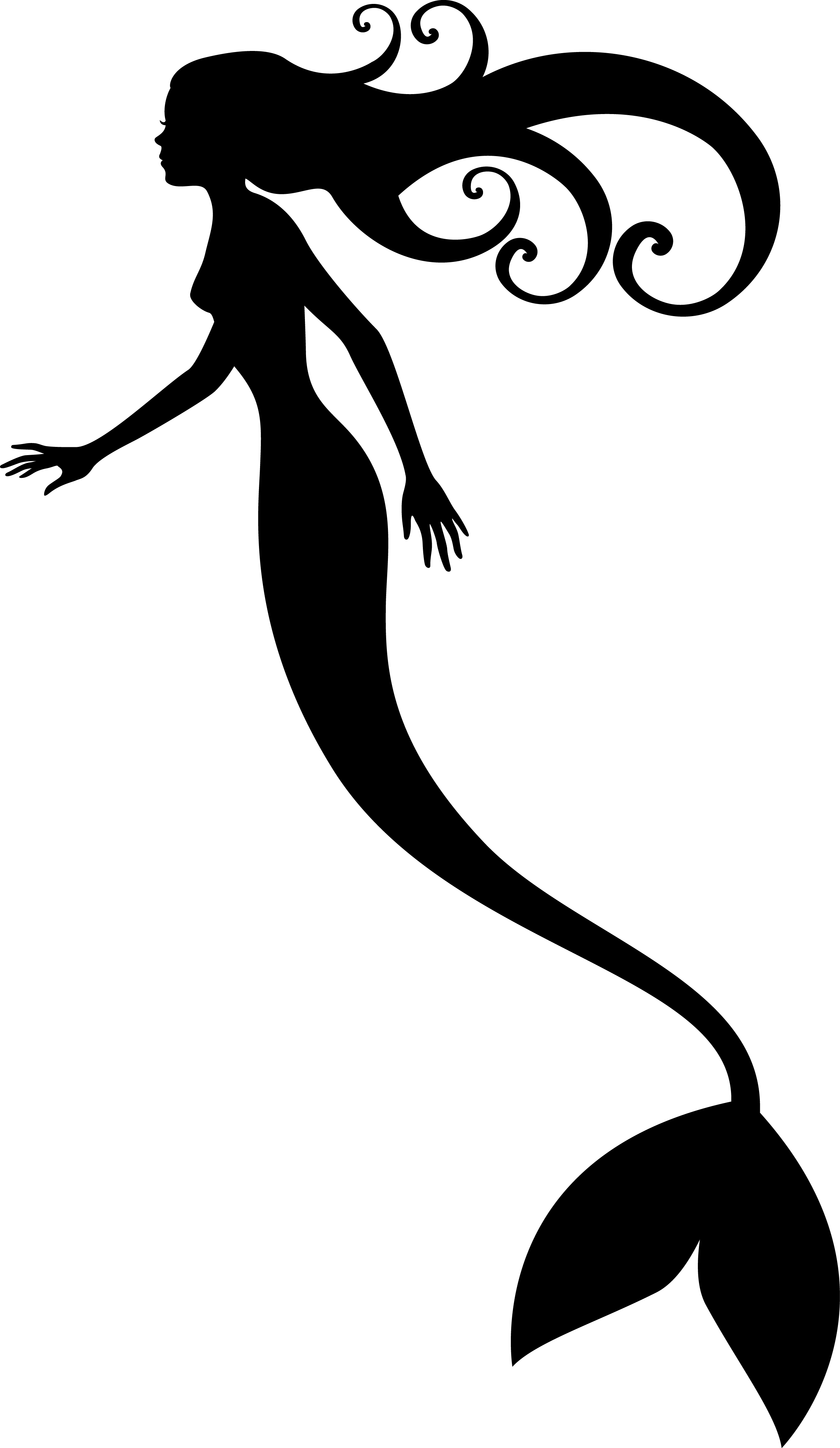 2358x4063 Mermaid Black And White Mermaid Clipart Black And White Outline