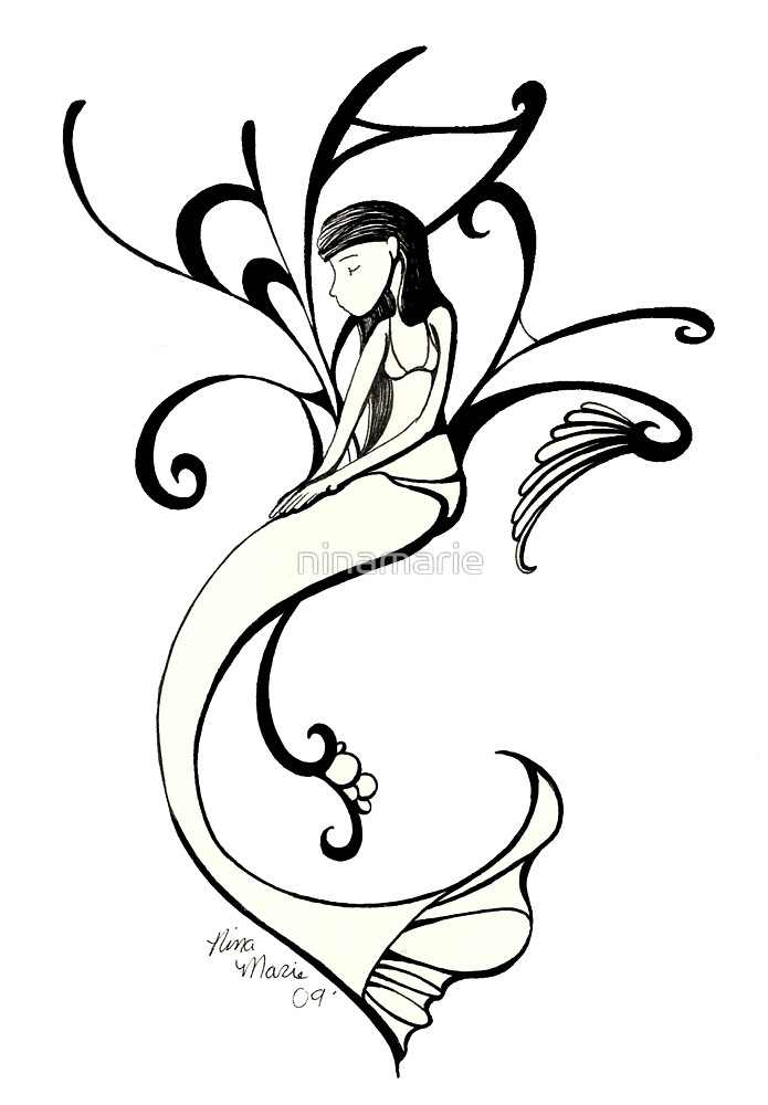 695x1000 Mermaid Outline By Ninamarie Redbubble