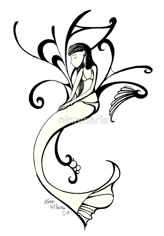 556x800 Mermaid Outline Clipart