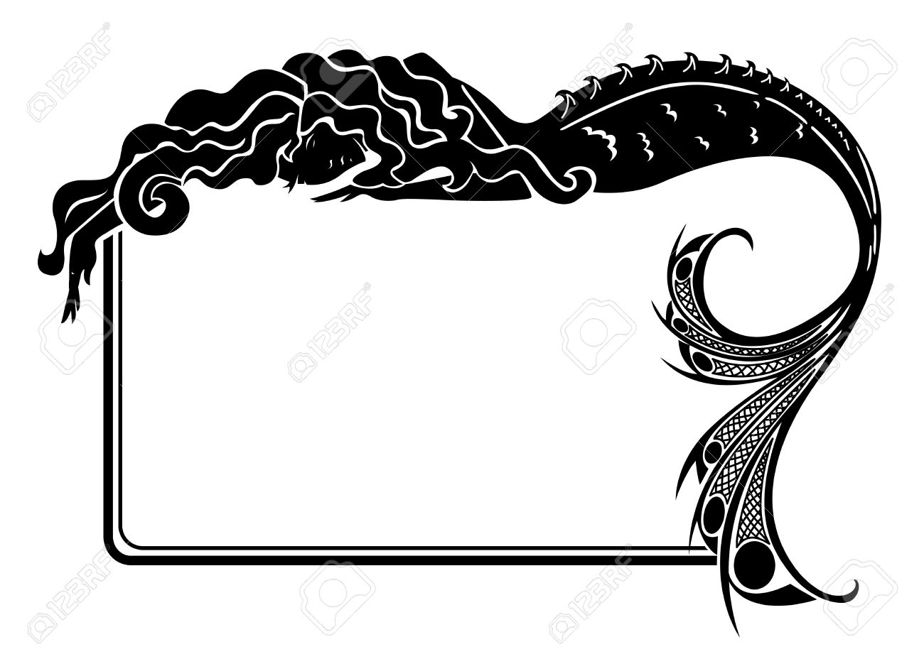 1300x928 Art Nouveau Mermaid Silhouette Frame Royalty Free Cliparts