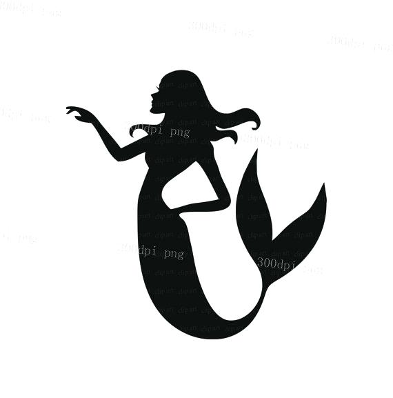 570x577 Mermaid Tail Clipart A Mermaid Silhouette Isolated On A White