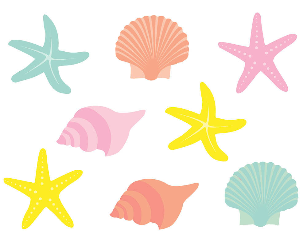 1000x800 Mermaid Shells Clipart