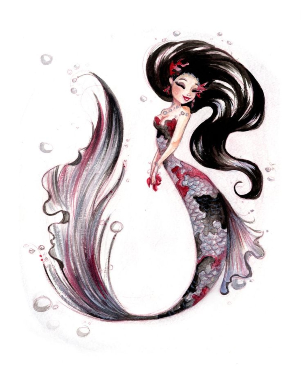 1024x1280 Silver Koi Fish Print By Lianahee Illustrations Amp Posters