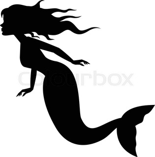 315x320 A Mermaid Silhouette With A Mirror.illusration Stock Vector