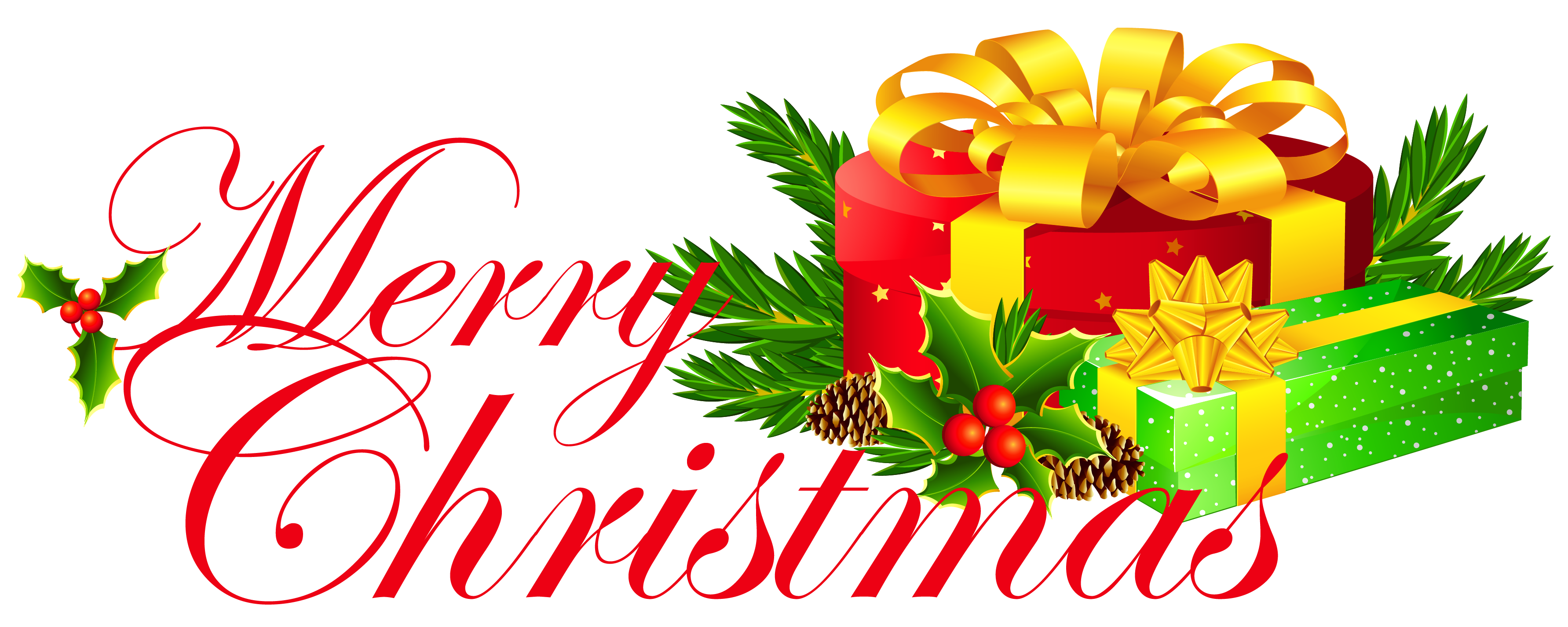 3565x1427 Transparent Merry Christmas With Presents Clipart 0 Image