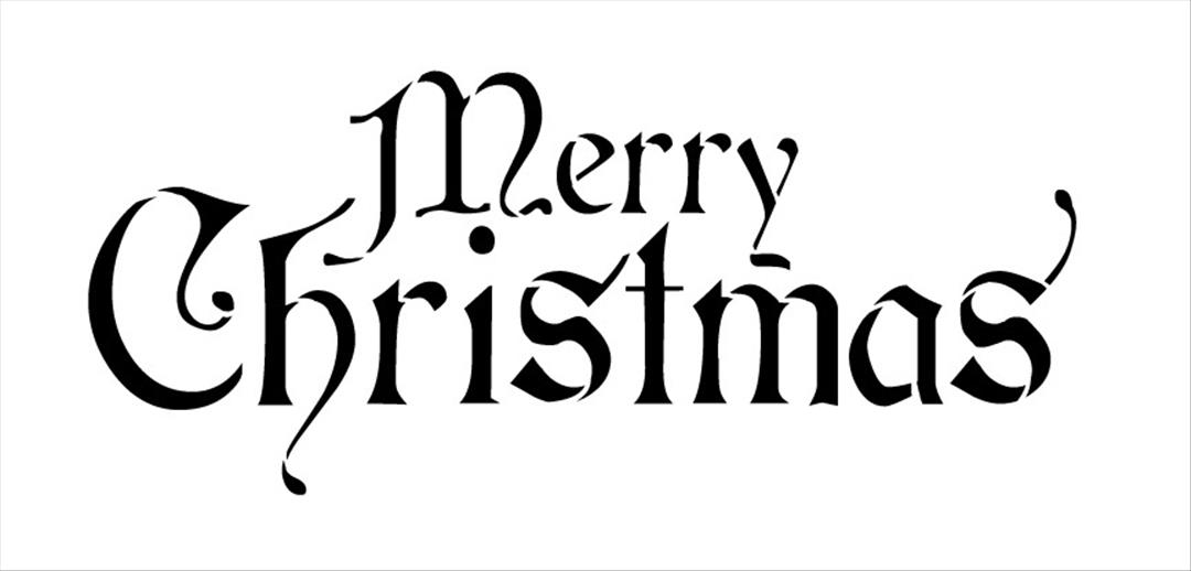 1080x518 Fancy Merry Christmas Clip Art Words Black And White
