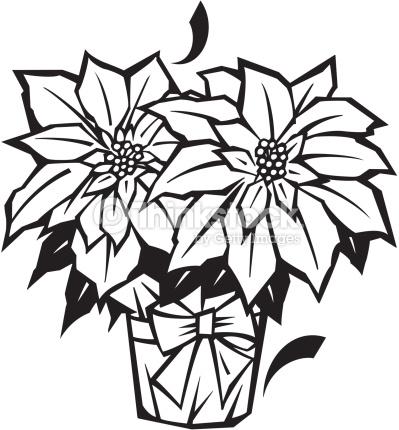 399x430 Black And White Christmas Flower Clip Art Merry Christmas