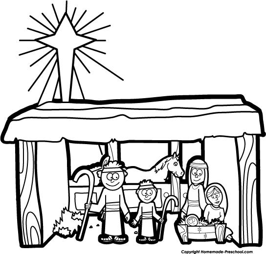 544x520 Black And White Nativity Clip Art Merry Christmas Amp Happy New