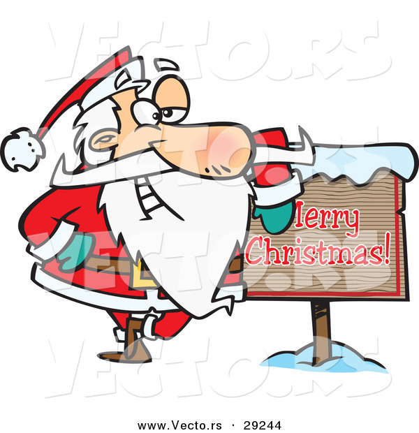 600x620 Cartoon Vector Of A Santa Beside Merry Christmas Sign By Toonaday