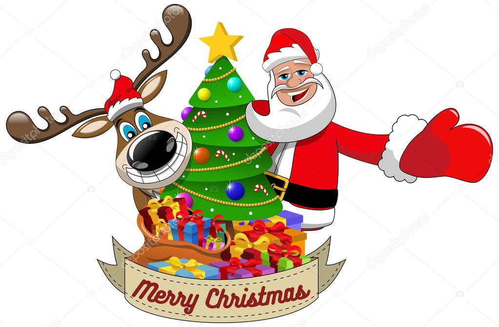 1023x671 Cartoon Funny Reindeer And Santa Claus Wishing Merry Christmas