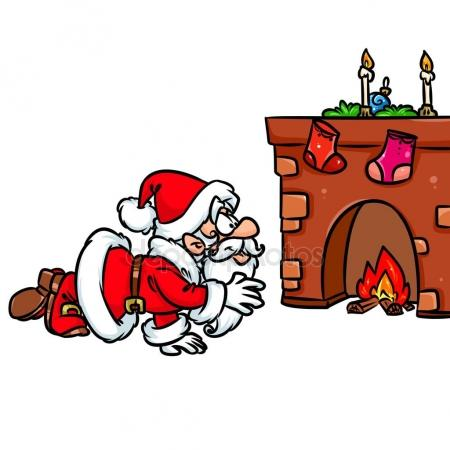 450x450 Merry Christmas Santa Claus Gifts Fireplace Cartoon Stock Photo