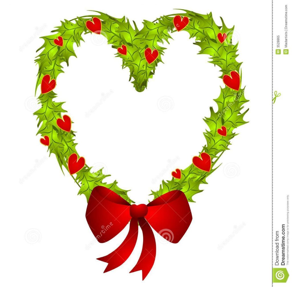 1024x1007 Christmas ~ Heart Shaped Christmas Wreath Royalty Free Stock Photo