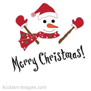 300x300 Clip Art Of A Snowman With Merry Christmas Written Below It