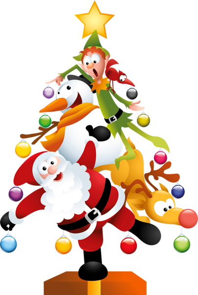 404x600 Comical Santa, Snowman, Reindeer And Elf Christmas Tree Clip Art
